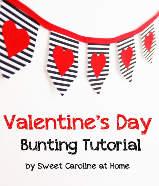 DIY Valentine Decor Ideas - Bold Valentine's Day Bunting - Cute and Easy Home Decor Projects for Valentines Day Decorating - Best Homemade Valentine Decorations for Home, Tables and Party, Kids and Outdoor - Romantic Vintage Ideas - Cheap Dollar Store and Dollar Tree Crafts http://diyjoy.com/easy-valentine-decorations