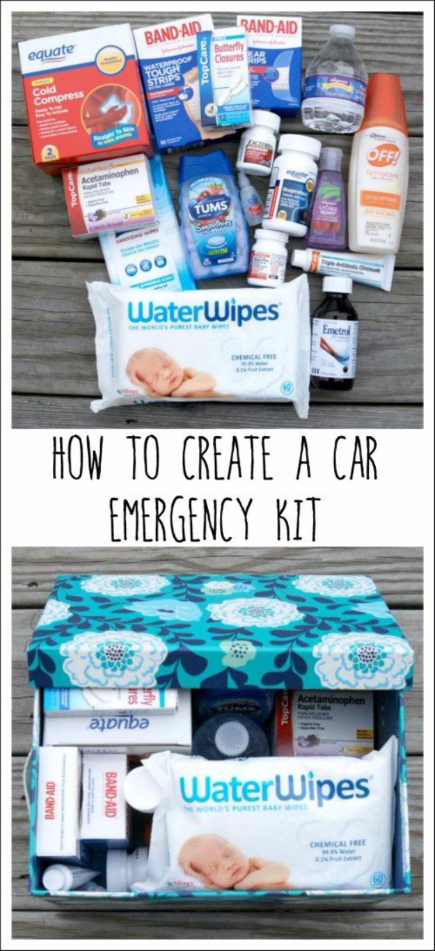 DIY Car Accessories and Ideas for Cars - Car Emergency Kit - Interior and Exterior, Seats, Mirror, Seat Covers, Storage, Carpet and Window Cleaners and Products - Decor, Keys and Iphone and Tablet Holders - DIY Projects and Crafts for Women and Men http://diyjoy.com/diy-ideas-car
