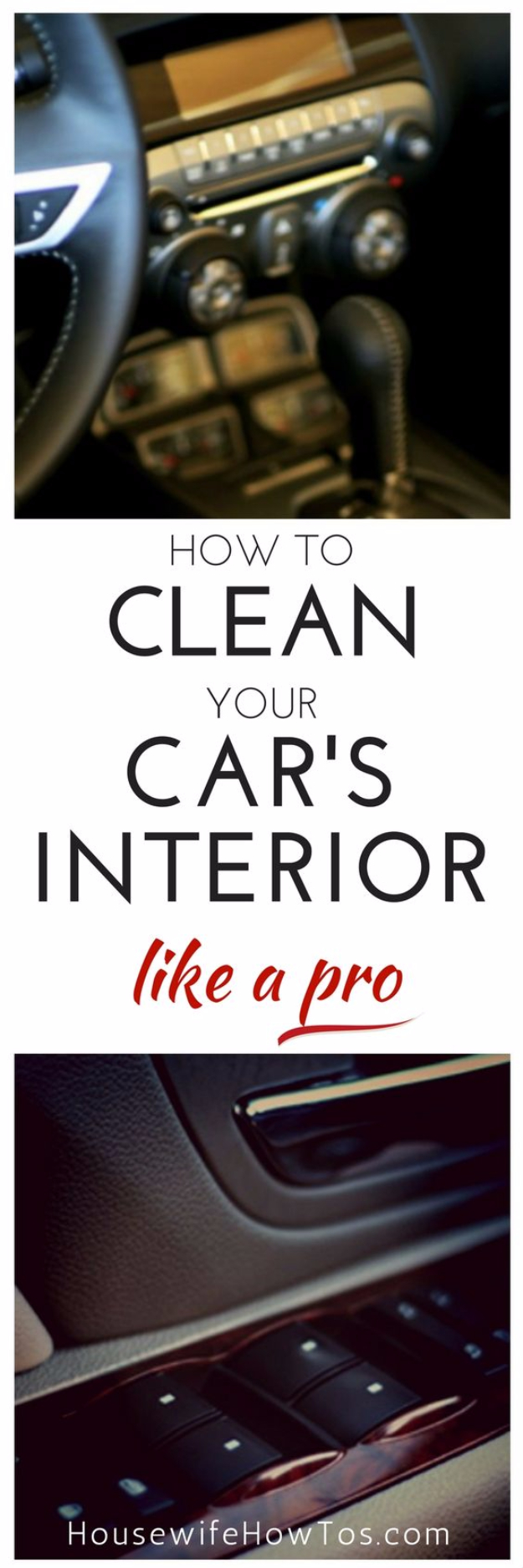 DIY Car Accessories and Ideas for Cars - Clean Your Car's Interior Like A Pro - Interior and Exterior, Seats, Mirror, Seat Covers, Storage, Carpet and Window Cleaners and Products - Decor, Keys and Iphone and Tablet Holders - DIY Projects and Crafts for Women and Men http://diyjoy.com/diy-ideas-car
