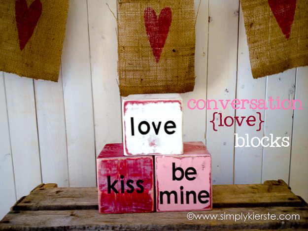 DIY Valentine Decor Ideas - Conversation Love Blocks - Cute and Easy Home Decor Projects for Valentines Day Decorating - Best Homemade Valentine Decorations for Home, Tables and Party, Kids and Outdoor - Romantic Vintage Ideas - Cheap Dollar Store and Dollar Tree Crafts http://diyjoy.com/easy-valentine-decorations