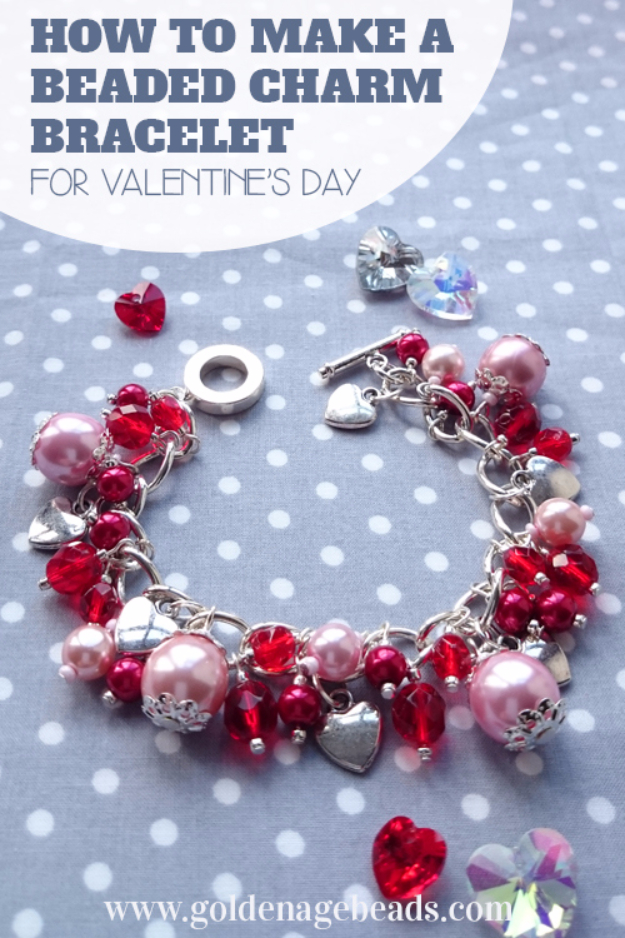 Best DIY Valentines Day Gifts - DIY Beaded Charm Bracelet - Cute Mason Jar Valentines Day Gifts and Crafts for Him and Her   Boyfriend, Girlfriend, Mom and Dad, Husband or Wife, Friends - Easy DIY Ideas for Valentines Day for Homemade Gift Giving and Room Decor   Creative Home Decor and Craft Projects for Teens, Teenagers, Kids and Adults http://diyjoy.com/diy-valentines-day-gift-ideas