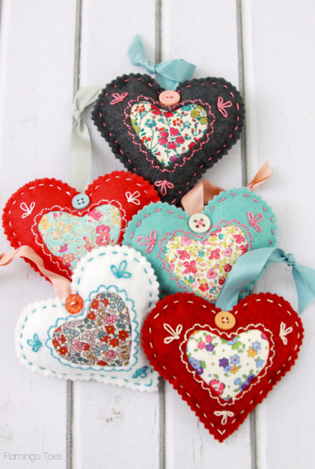 Best DIY Valentines Day Gifts - DIY Fabric Heart Valentines - Cute Mason Jar Valentines Day Gifts and Crafts for Him and Her   Boyfriend, Girlfriend, Mom and Dad, Husband or Wife, Friends - Easy DIY Ideas for Valentines Day for Homemade Gift Giving and Room Decor   Creative Home Decor and Craft Projects for Teens, Teenagers, Kids and Adults http://diyjoy.com/diy-valentines-day-gift-ideas