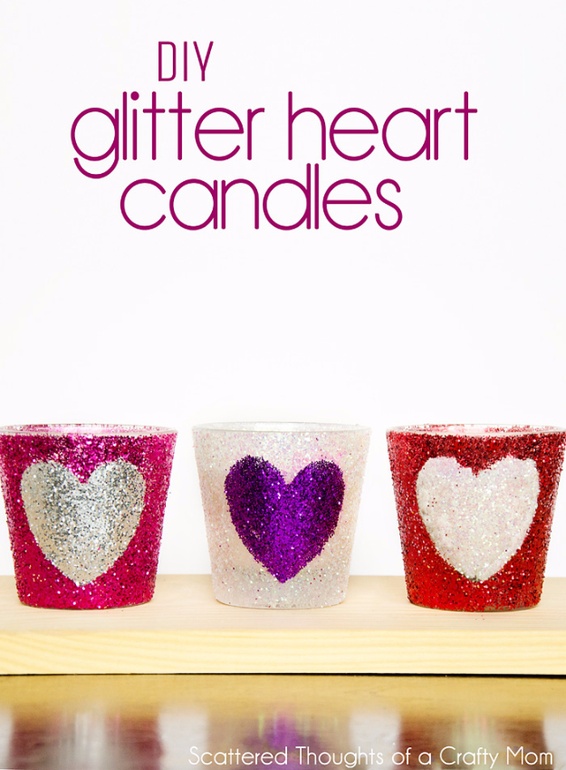 DIY Valentine Decor Ideas - DIY Glitter Heart Candles - Cute and Easy Home Decor Projects for Valentines Day Decorating - Best Homemade Valentine Decorations for Home, Tables and Party, Kids and Outdoor - Romantic Vintage Ideas - Cheap Dollar Store and Dollar Tree Crafts http://diyjoy.com/easy-valentine-decorations