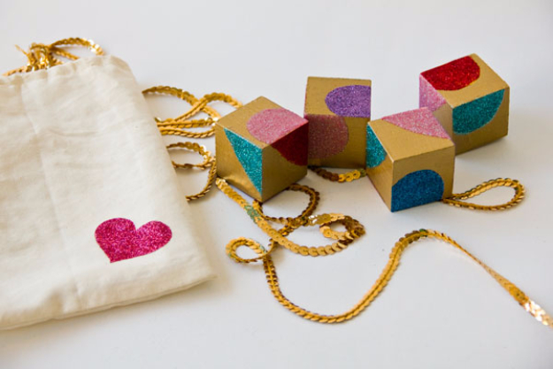 Best DIY Valentines Day Gifts - DIY Glittery Block Puzzle Valentines - Cute Mason Jar Valentines Day Gifts and Crafts for Him and Her   Boyfriend, Girlfriend, Mom and Dad, Husband or Wife, Friends - Easy DIY Ideas for Valentines Day for Homemade Gift Giving and Room Decor   Creative Home Decor and Craft Projects for Teens, Teenagers, Kids and Adults http://diyjoy.com/diy-valentines-day-gift-ideas