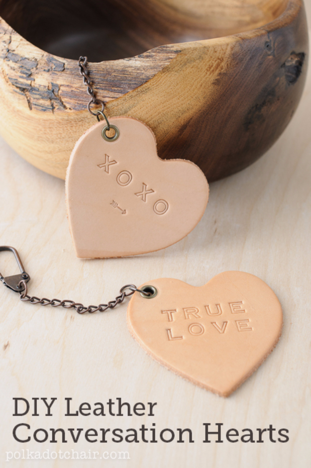 Best DIY Valentines Day Gifts - DIY Leather Conversation Hearts - Cute Mason Jar Valentines Day Gifts and Crafts for Him and Her   Boyfriend, Girlfriend, Mom and Dad, Husband or Wife, Friends - Easy DIY Ideas for Valentines Day for Homemade Gift Giving and Room Decor   Creative Home Decor and Craft Projects for Teens, Teenagers, Kids and Adults http://diyjoy.com/diy-valentines-day-gift-ideas