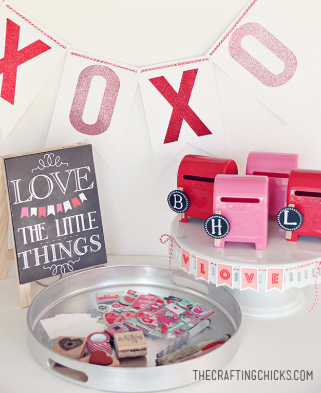 DIY Valentine Decor Ideas - DIY Love Letter Station - Cute and Easy Home Decor Projects for Valentines Day Decorating - Best Homemade Valentine Decorations for Home, Tables and Party, Kids and Outdoor - Romantic Vintage Ideas - Cheap Dollar Store and Dollar Tree Crafts http://diyjoy.com/easy-valentine-decorations