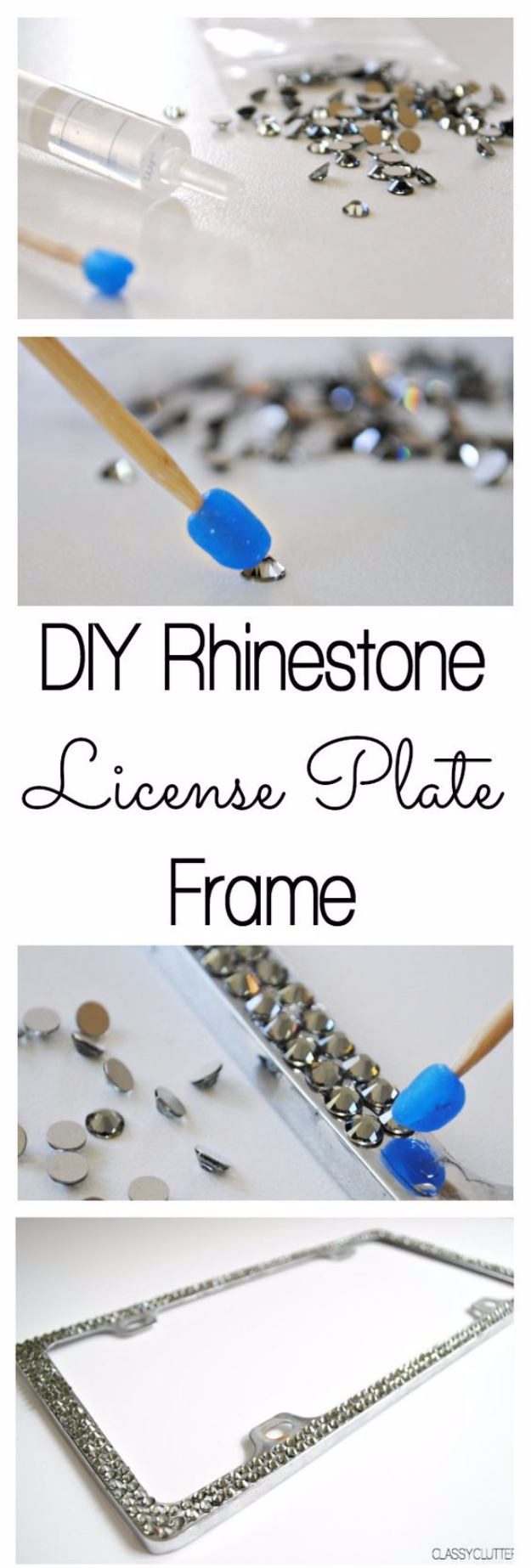 DIY Car Accessories and Ideas for Cars - DIY Rhinestone License Plate Frame - Interior and Exterior, Seats, Mirror, Seat Covers, Storage, Carpet and Window Cleaners and Products - Decor, Keys and Iphone and Tablet Holders - DIY Projects and Crafts for Women and Men http://diyjoy.com/diy-ideas-car
