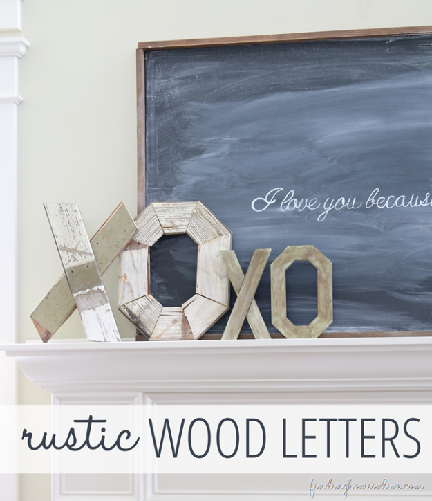 DIY Valentine Decor Ideas - DIY Rustic Wood Letters And My Valentine - Cute and Easy Home Decor Projects for Valentines Day Decorating - Best Homemade Valentine Decorations for Home, Tables and Party, Kids and Outdoor - Romantic Vintage Ideas - Cheap Dollar Store and Dollar Tree Crafts http://diyjoy.com/easy-valentine-decorations