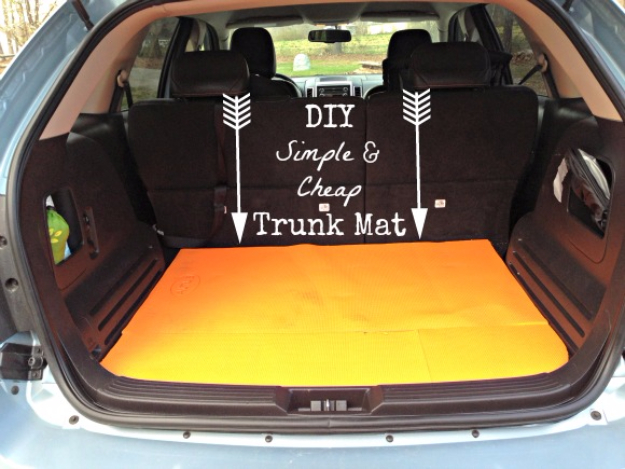 DIY Car Accessories and Ideas for Cars - DIY Simple And Cheap Trunk Mat - Interior and Exterior, Seats, Mirror, Seat Covers, Storage, Carpet and Window Cleaners and Products - Decor, Keys and Iphone and Tablet Holders - DIY Projects and Crafts for Women and Men http://diyjoy.com/diy-ideas-car