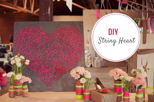 Best DIY Valentines Day Gifts - DIY String Heart - Cute Mason Jar Valentines Day Gifts and Crafts for Him and Her   Boyfriend, Girlfriend, Mom and Dad, Husband or Wife, Friends - Easy DIY Ideas for Valentines Day for Homemade Gift Giving and Room Decor   Creative Home Decor and Craft Projects for Teens, Teenagers, Kids and Adults http://diyjoy.com/diy-valentines-day-gift-ideas
