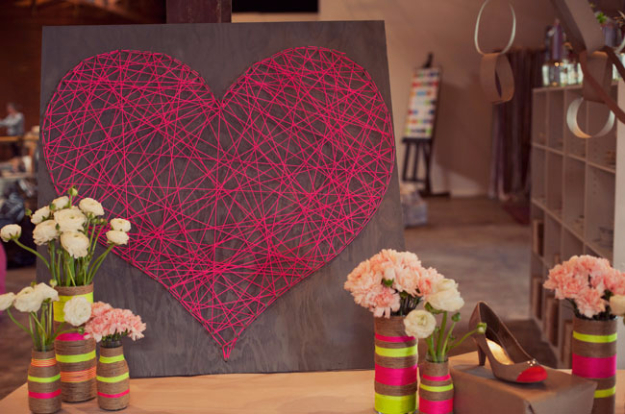 DIY Valentine Decor Ideas - DIY String Heart - Cute and Easy Home Decor Projects for Valentines Day Decorating - Best Homemade Valentine Decorations for Home, Tables and Party, Kids and Outdoor - Romantic Vintage Ideas - Cheap Dollar Store and Dollar Tree Crafts http://diyjoy.com/easy-valentine-decorations