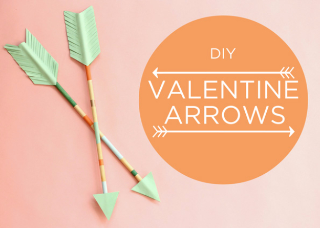 DIY Valentine Decor Ideas - DIY Valentine Arrows - Cute and Easy Home Decor Projects for Valentines Day Decorating - Best Homemade Valentine Decorations for Home, Tables and Party, Kids and Outdoor - Romantic Vintage Ideas - Cheap Dollar Store and Dollar Tree Crafts http://diyjoy.com/easy-valentine-decorations