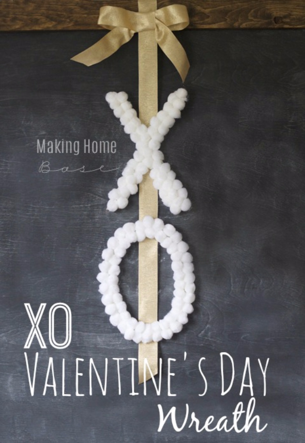 DIY Valentine Decor Ideas - DIY XO Wreath - Cute and Easy Home Decor Projects for Valentines Day Decorating - Best Homemade Valentine Decorations for Home, Tables and Party, Kids and Outdoor - Romantic Vintage Ideas - Cheap Dollar Store and Dollar Tree Crafts http://diyjoy.com/easy-valentine-decorations