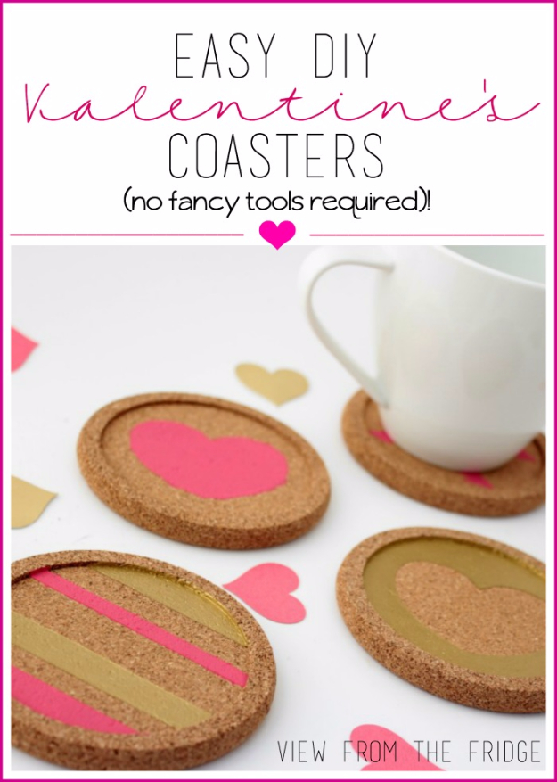 DIY Valentine Decor Ideas - Easy DIY valentine's Coasters - Cute and Easy Home Decor Projects for Valentines Day Decorating - Best Homemade Valentine Decorations for Home, Tables and Party, Kids and Outdoor - Romantic Vintage Ideas - Cheap Dollar Store and Dollar Tree Crafts http://diyjoy.com/easy-valentine-decorations