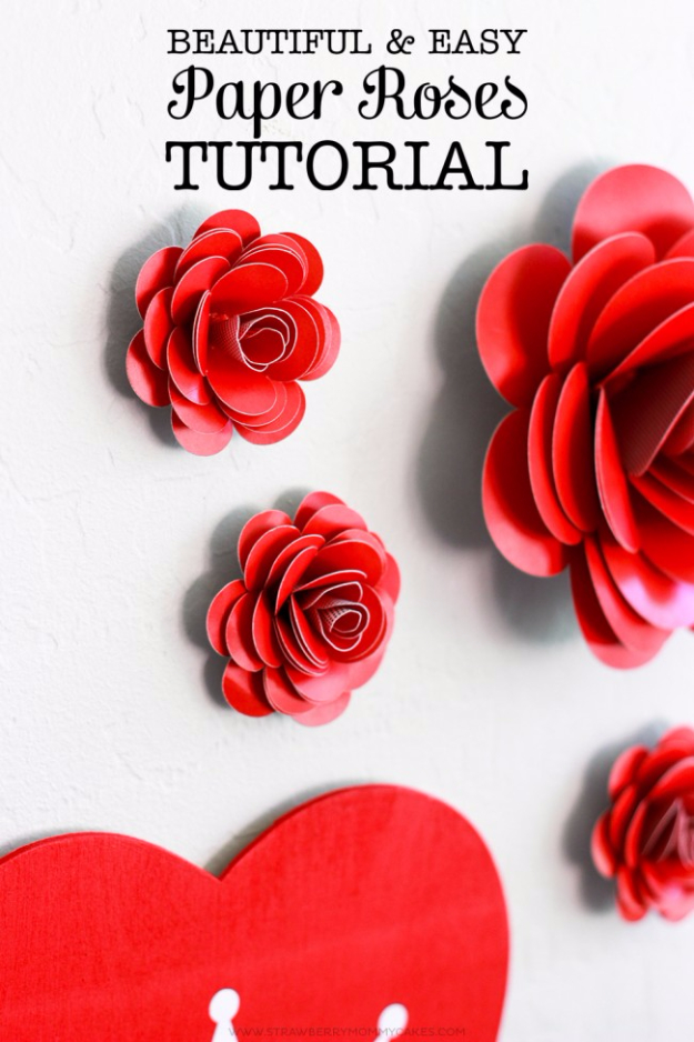 DIY Valentine Decor Ideas - Easy Paper Roses - Cute and Easy Home Decor Projects for Valentines Day Decorating - Best Homemade Valentine Decorations for Home, Tables and Party, Kids and Outdoor - Romantic Vintage Ideas - Cheap Dollar Store and Dollar Tree Crafts http://diyjoy.com/easy-valentine-decorations
