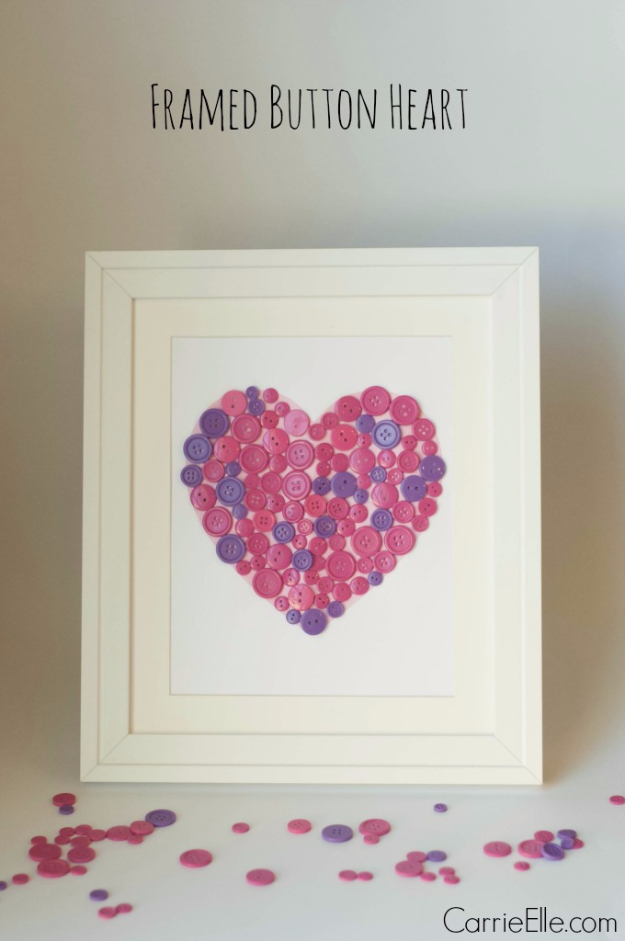 DIY Valentine Decor Ideas - Framed Button Heart - Cute and Easy Home Decor Projects for Valentines Day Decorating - Best Homemade Valentine Decorations for Home, Tables and Party, Kids and Outdoor - Romantic Vintage Ideas - Cheap Dollar Store and Dollar Tree Crafts http://diyjoy.com/easy-valentine-decorations