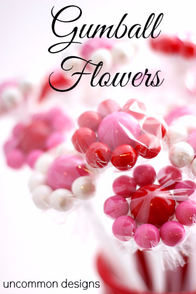 DIY Valentine Decor Ideas - Gumball Flowers - Cute and Easy Home Decor Projects for Valentines Day Decorating - Best Homemade Valentine Decorations for Home, Tables and Party, Kids and Outdoor - Romantic Vintage Ideas - Cheap Dollar Store and Dollar Tree Crafts http://diyjoy.com/easy-valentine-decorations