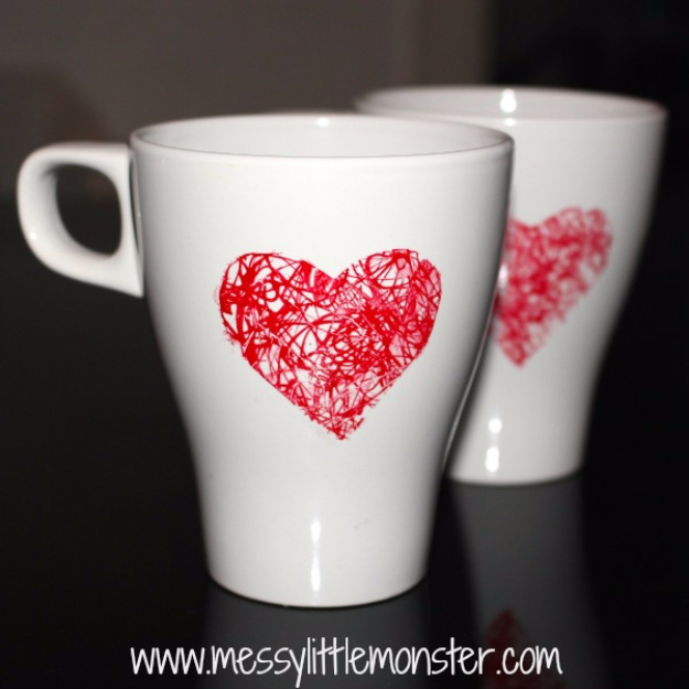 Best DIY Valentines Day Gifts - Heart Scribble Mug - Cute Mason Jar Valentines Day Gifts and Crafts for Him and Her   Boyfriend, Girlfriend, Mom and Dad, Husband or Wife, Friends - Easy DIY Ideas for Valentines Day for Homemade Gift Giving and Room Decor   Creative Home Decor and Craft Projects for Teens, Teenagers, Kids and Adults http://diyjoy.com/diy-valentines-day-gift-ideas