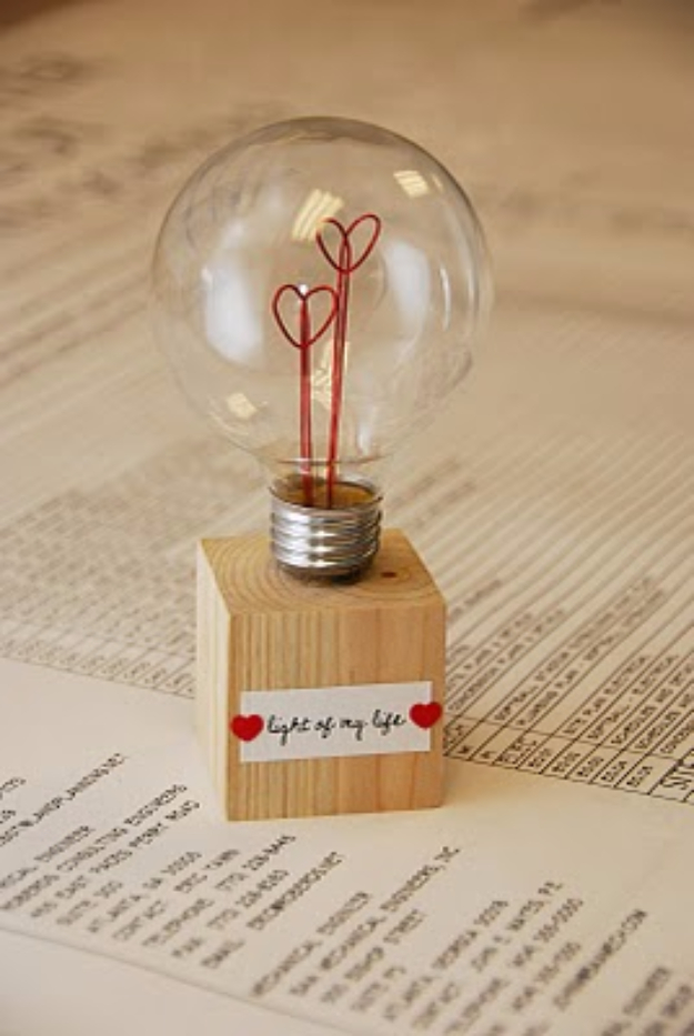 Best DIY Valentines Day Gifts - Light Of My Life Lamp - Cute Mason Jar Valentines Day Gifts and Crafts for Him and Her   Boyfriend, Girlfriend, Mom and Dad, Husband or Wife, Friends - Easy DIY Ideas for Valentines Day for Homemade Gift Giving and Room Decor   Creative Home Decor and Craft Projects for Teens, Teenagers, Kids and Adults http://diyjoy.com/diy-valentines-day-gift-ideas