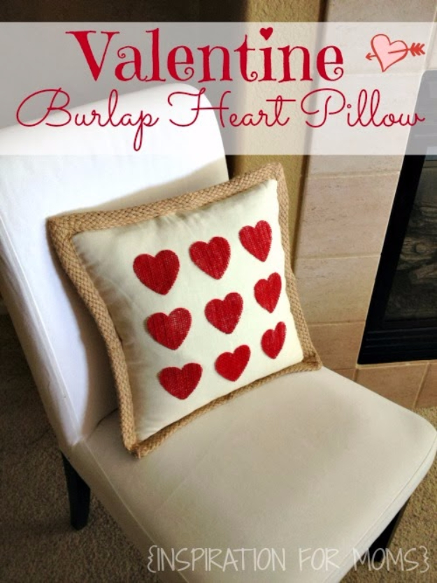 Best DIY Valentines Day Gifts - No-Sew Burlap Valentine Heart Pillow - Cute Mason Jar Valentines Day Gifts and Crafts for Him and Her   Boyfriend, Girlfriend, Mom and Dad, Husband or Wife, Friends - Easy DIY Ideas for Valentines Day for Homemade Gift Giving and Room Decor   Creative Home Decor and Craft Projects for Teens, Teenagers, Kids and Adults http://diyjoy.com/diy-valentines-day-gift-ideas