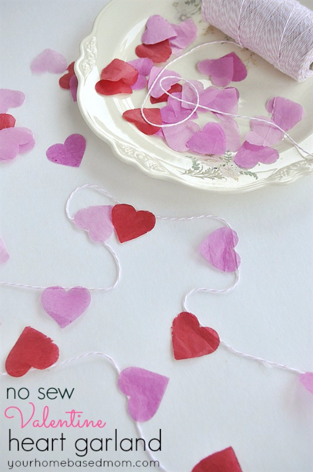 DIY Valentine Decor Ideas - No Sew Valentine Heart Garland - Cute and Easy Home Decor Projects for Valentines Day Decorating - Best Homemade Valentine Decorations for Home, Tables and Party, Kids and Outdoor - Romantic Vintage Ideas - Cheap Dollar Store and Dollar Tree Crafts http://diyjoy.com/easy-valentine-decorations