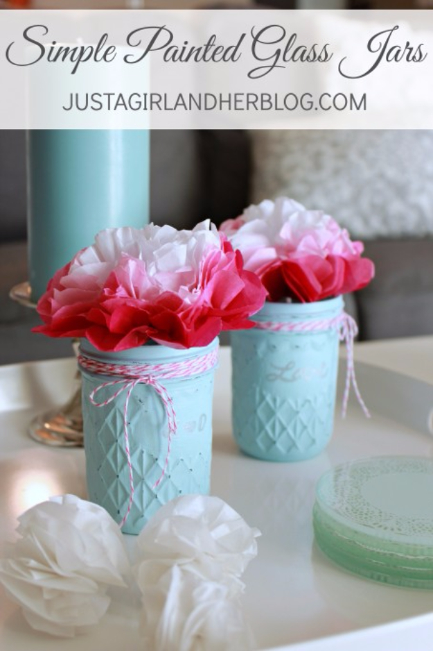 Best DIY Valentines Day Gifts - Simple Painted Glass Jars - Cute Mason Jar Valentines Day Gifts and Crafts for Him and Her   Boyfriend, Girlfriend, Mom and Dad, Husband or Wife, Friends - Easy DIY Ideas for Valentines Day for Homemade Gift Giving and Room Decor   Creative Home Decor and Craft Projects for Teens, Teenagers, Kids and Adults http://diyjoy.com/diy-valentines-day-gift-ideas