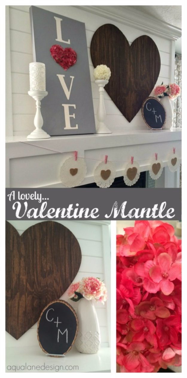 DIY Valentine Decor Ideas - Valentine Mantle - Cute and Easy Home Decor Projects for Valentines Day Decorating - Best Homemade Valentine Decorations for Home, Tables and Party, Kids and Outdoor - Romantic Vintage Ideas - Cheap Dollar Store and Dollar Tree Crafts http://diyjoy.com/easy-valentine-decorations
