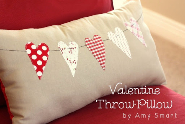 DIY Valentine Decor Ideas - Valentine Throw Pillow - Cute and Easy Home Decor Projects for Valentines Day Decorating - Best Homemade Valentine Decorations for Home, Tables and Party, Kids and Outdoor - Romantic Vintage Ideas - Cheap Dollar Store and Dollar Tree Crafts http://diyjoy.com/easy-valentine-decorations