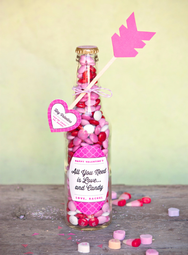 Best DIY Valentines Day Gifts - Valentines Candy Bottle - Cute Mason Jar Valentines Day Gifts and Crafts for Him and Her   Boyfriend, Girlfriend, Mom and Dad, Husband or Wife, Friends - Easy DIY Ideas for Valentines Day for Homemade Gift Giving and Room Decor   Creative Home Decor and Craft Projects for Teens, Teenagers, Kids and Adults http://diyjoy.com/diy-valentines-day-gift-ideas