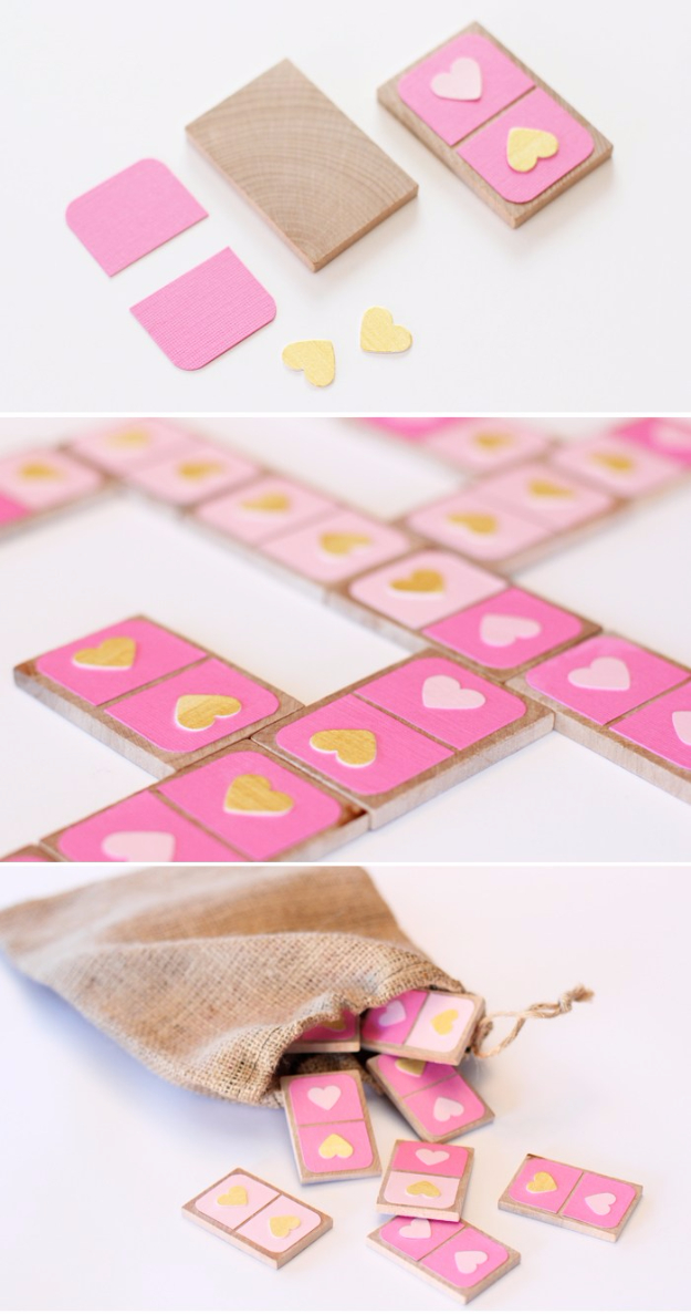 Best DIY Valentines Day Gifts - Valentines Day Dominoes - Cute Mason Jar Valentines Day Gifts and Crafts for Him and Her   Boyfriend, Girlfriend, Mom and Dad, Husband or Wife, Friends - Easy DIY Ideas for Valentines Day for Homemade Gift Giving and Room Decor   Creative Home Decor and Craft Projects for Teens, Teenagers, Kids and Adults http://diyjoy.com/diy-valentines-day-gift-ideas