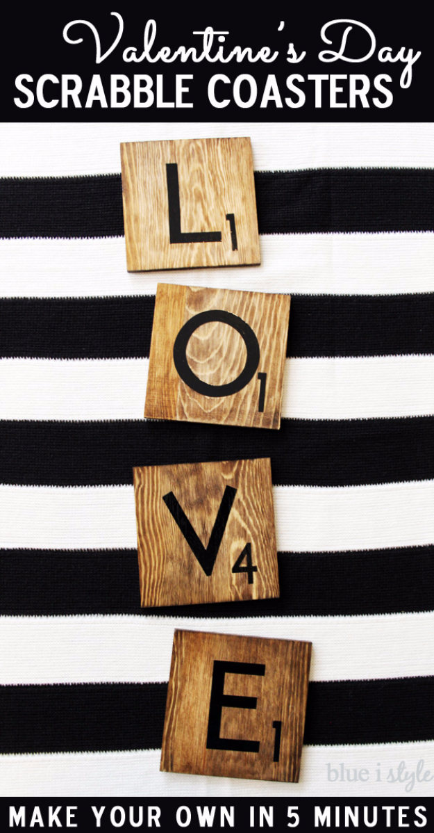 Best DIY Valentines Day Gifts - Valentines Day Scrabble Coasters - Cute Mason Jar Valentines Day Gifts and Crafts for Him and Her   Boyfriend, Girlfriend, Mom and Dad, Husband or Wife, Friends - Easy DIY Ideas for Valentines Day for Homemade Gift Giving and Room Decor   Creative Home Decor and Craft Projects for Teens, Teenagers, Kids and Adults http://diyjoy.com/diy-valentines-day-gift-ideas