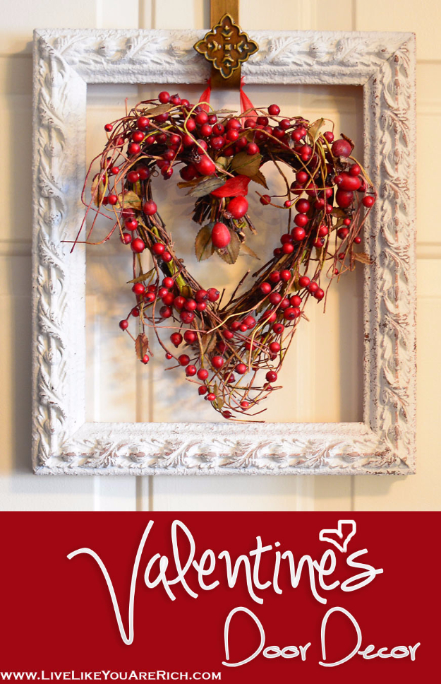 DIY Valentine Decor Ideas - Valentine's Door Decor - Cute and Easy Home Decor Projects for Valentines Day Decorating - Best Homemade Valentine Decorations for Home, Tables and Party, Kids and Outdoor - Romantic Vintage Ideas - Cheap Dollar Store and Dollar Tree Crafts http://diyjoy.com/easy-valentine-decorations