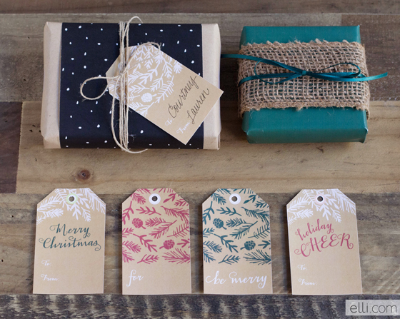 PRINTABLE KRAFT EVERGREEN HOLIDAY GIFT TAGS