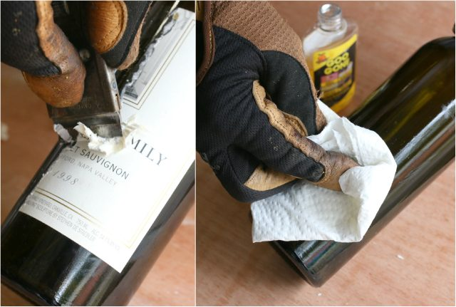 Prepare the bottle by removing any paper labels from the glass.