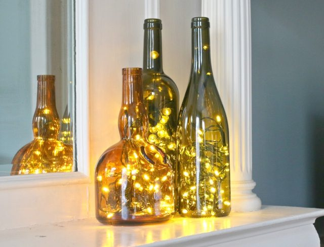 Arrange and display the bottle (or group of bottles) to help illuminate a small space,